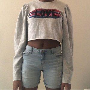 Zara cropped gray sweatshirt (never worn)